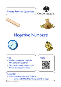 negative-numbers review questions-pdf