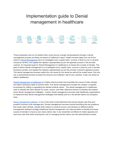 Implementation guide to Denial management in healthcare