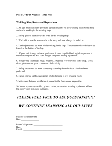 Welding Shop Rules and Regulations