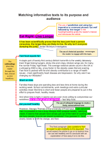Handout Chapter 2.1 - Matching informative texts to its purpose and audience