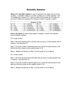 Scientific Notation Course Notes - For Science Class