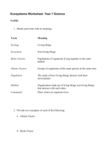Ecosystems intro worksheet