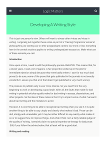 Developing a writing style - Logic Matters