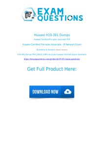 Huawei H19-301 Exam Dumps [2020] Authentic Questiosn PDF