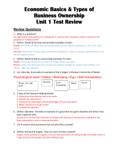 "11a. Test Review - Economic Basics and Types of Businesses ""Grade 10 business Canada"""