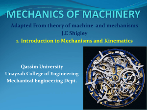 1. Introduction to Mechanisms & Kinematics