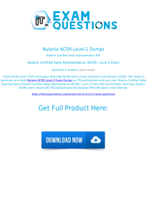 Nutanix NCSR-Level-2 Exam Dumps [2020] Authentic Questions PDF