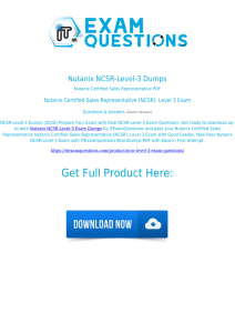Nutanix NCSR-Level-3 Exam Dumps [2020] Real Questions PDF