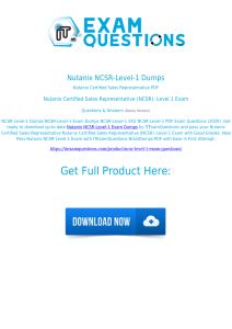 Nutanix NCSR-Level-1 Exam Dumps [2020] Real Questions PDF