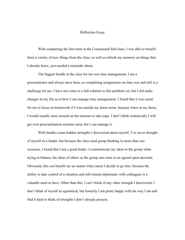 Self reflection essay english course literary analysis the curse