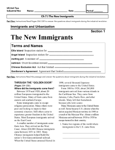 US History Ch 7.1 The New Immigrants