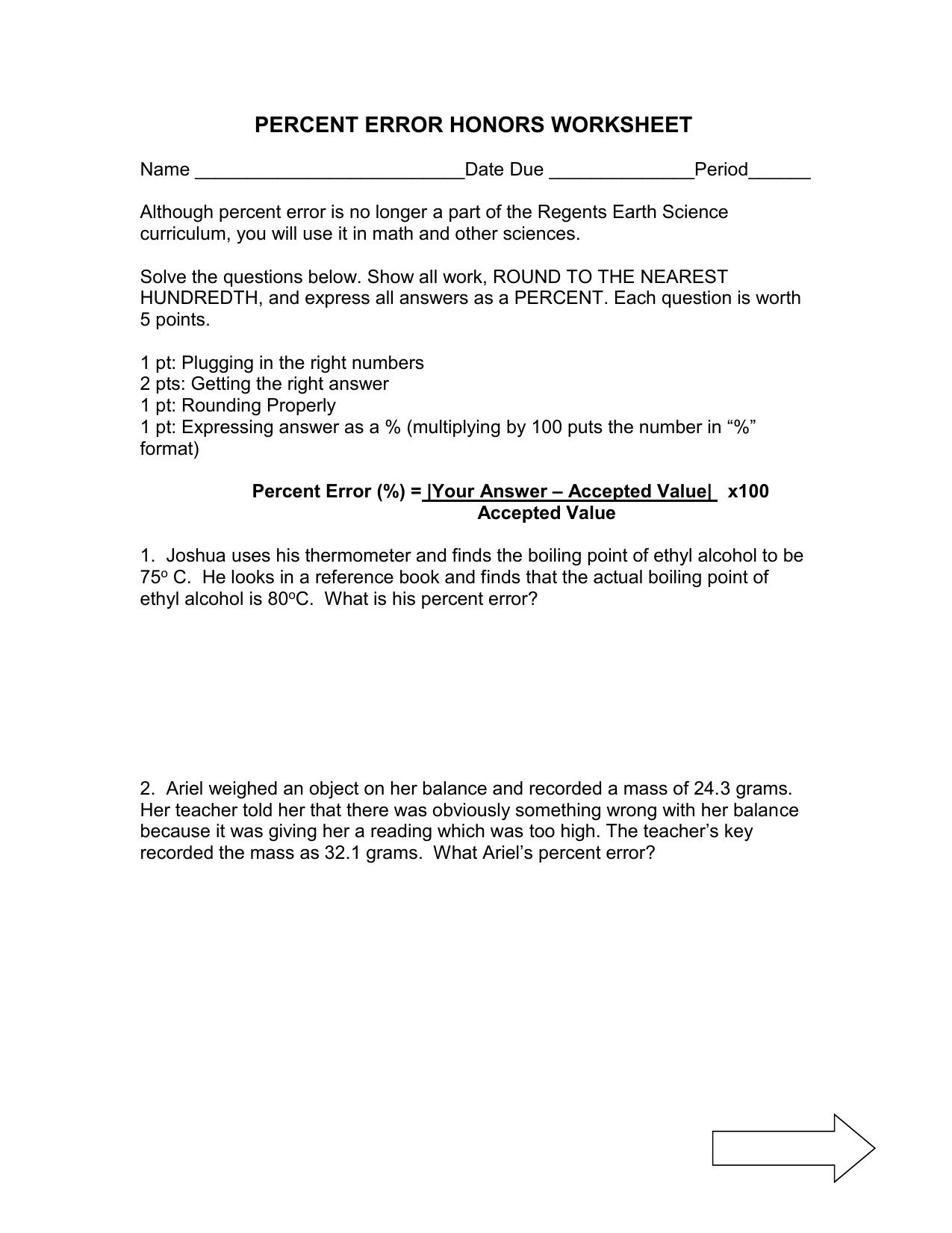 Percent Error Worksheet Option 25 With Percent Error Worksheet Answer Key
