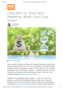 Long-Term vs. Short-Term Marketing  What's Your Crisis Vision