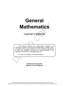 General Mathematics Learners Material