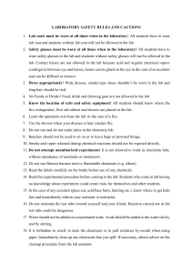 LABORATORY SAFETY RULES AND CAUTIONS