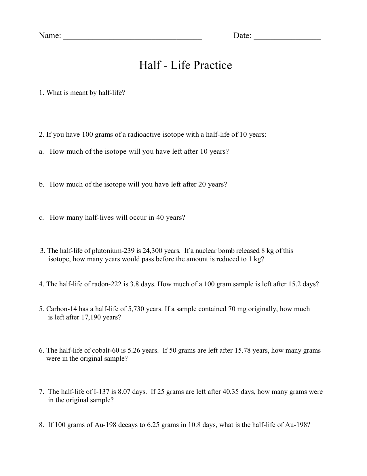 Half life Worksheet problems and graphing