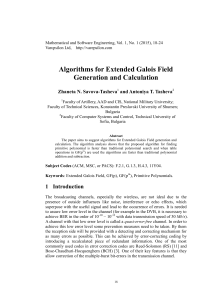 Algorithms for Extended Galois Field