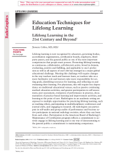 Education techniques for lifelong learning: Lifelong learning in the 21st century and beyond