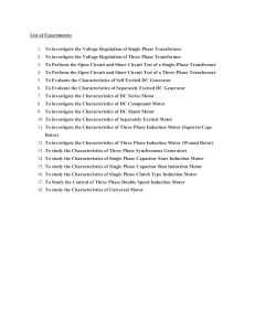 List of Experiments of Electrical machine