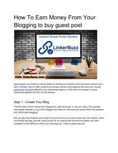 How To Earn Money From Your Blogging to buy guest post