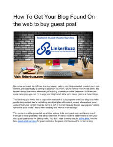 How To Get Your Blog Found On the web to buy guest post