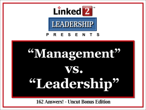 Management Vs. Leadership PowerPoint