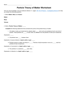 Particle Theory of Matter - Worksheet - 1