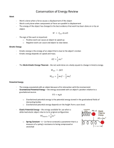 Unit 5 - Conservation of Energy Exam Review 20-21