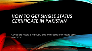 Let Guide the People on How to get single status certificate in Pakistan