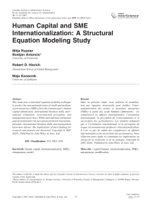 Human Capital and SME Internationalization: A Structural Equation Modeling Study