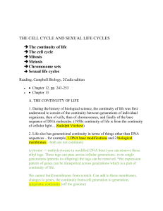 THE CELL CYCLE AND SEXUAL LIFE CYCLES