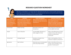 RESEARCH QUESTION WORKSHEET