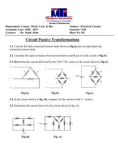 Fundamental of electric circuits - Circuits sheet 3 - Faculty of Engineering - MTI University