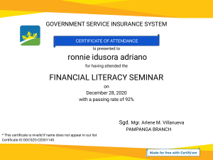 Certificate for ronnie idusora adriano for  FINANCIAL LITERACY SEMINAR