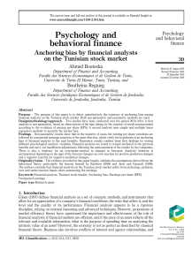 Anchoring bias by financial analysts on the Tunisian stock market - BF