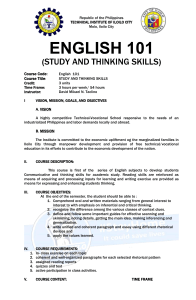 Study and Thinking Skills 2020 Syllabus