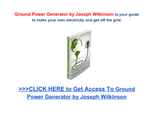 Ground Power Generator Joseph Wilkinson