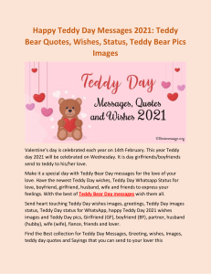 Teddy Day Wishes Messages Quotes Status Photo