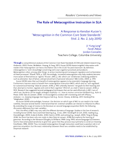 Role of Metacognition in SLA