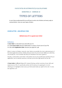 SEMINAR 10 LETTER WRITING 2 TYPES OF LETTERS