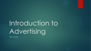 Introduction to Advertising- HIF 1O