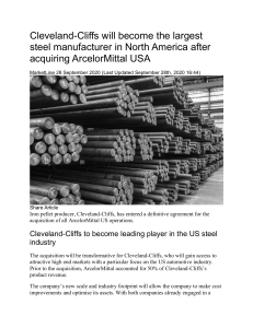 Cleveland Cliffs will become the largest steel manufacturer in North America