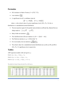 Formulas and Tables