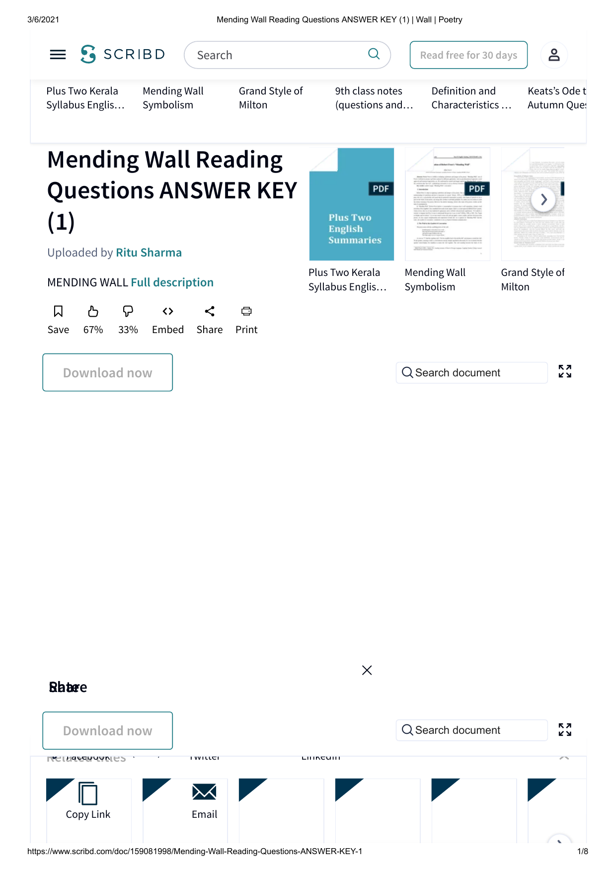 Mending Wall Reading Questions ANSWER KEY (1) Wall Poetry