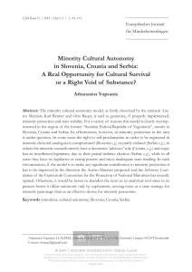 Yupsanis Cultural Autonomy for Minorities in Slovenia, Croatia and Serbia