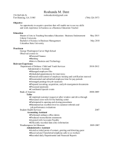 Business Education Resume