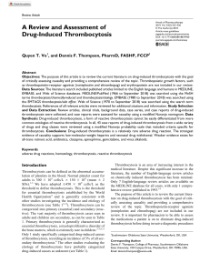 A Review and Assessment of Rx-induced Thrombocytosis