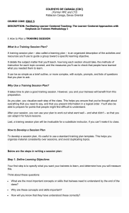 I. How to Plan a Training Session