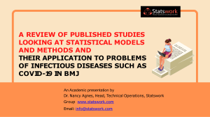 A Review of published studies looking at statistical models and methods