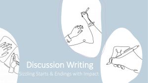 Discussion Writing Sizzling Starts & Endings with Impact
